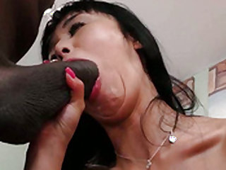 Asian chick dildoing and sucking