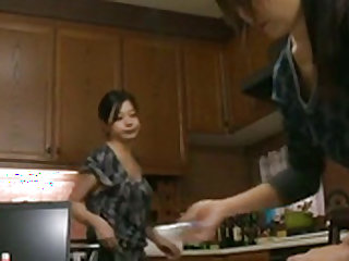 Horny  enjoys a quick fuck in the kitchen along horny hubby