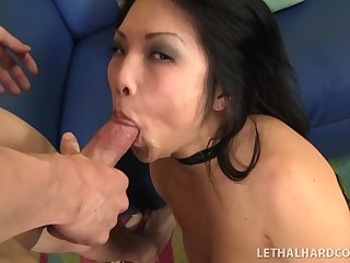 Asian in corset pissing and fucking