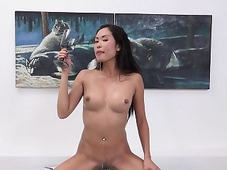 Breathtaking sweetie is pissing and finger fucking shaved pu