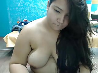 Cute chubby asian masturbates